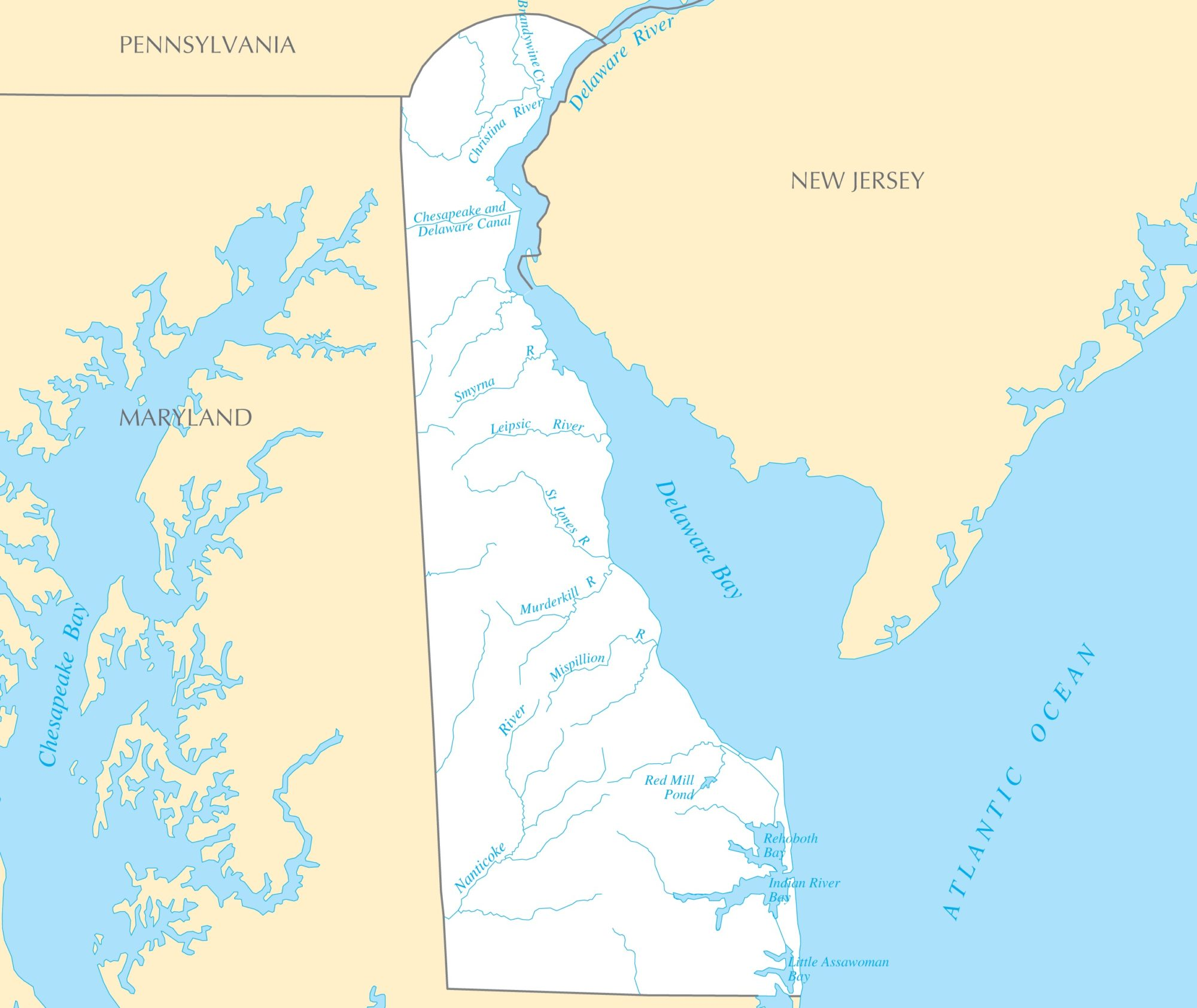 Delaware River Map   Large Printable and Standard Map 2