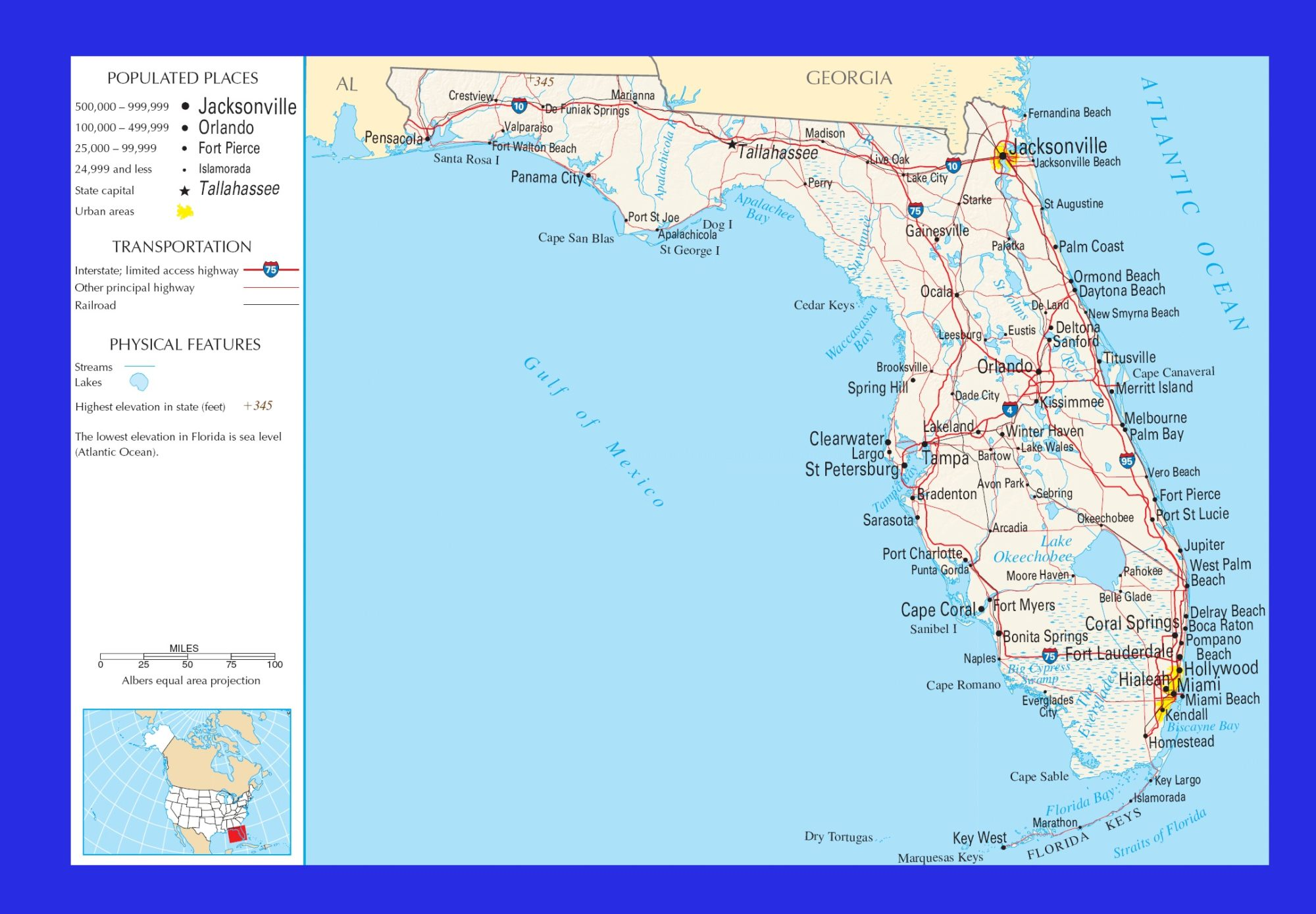 Florida Political Map   Large Printable and Standard Map