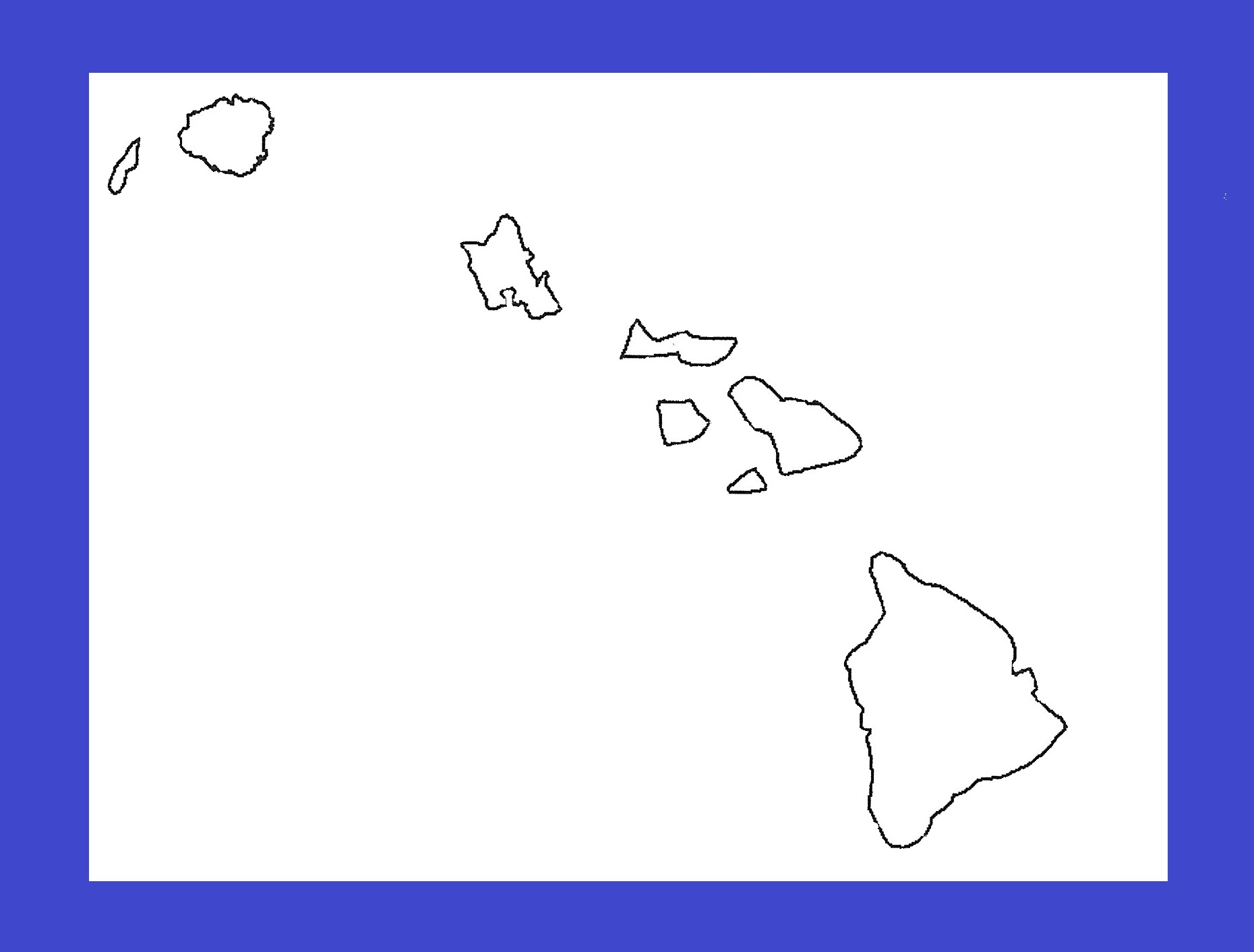 Hawaii Blank Outline Map | Large Printable and Standard Map 12