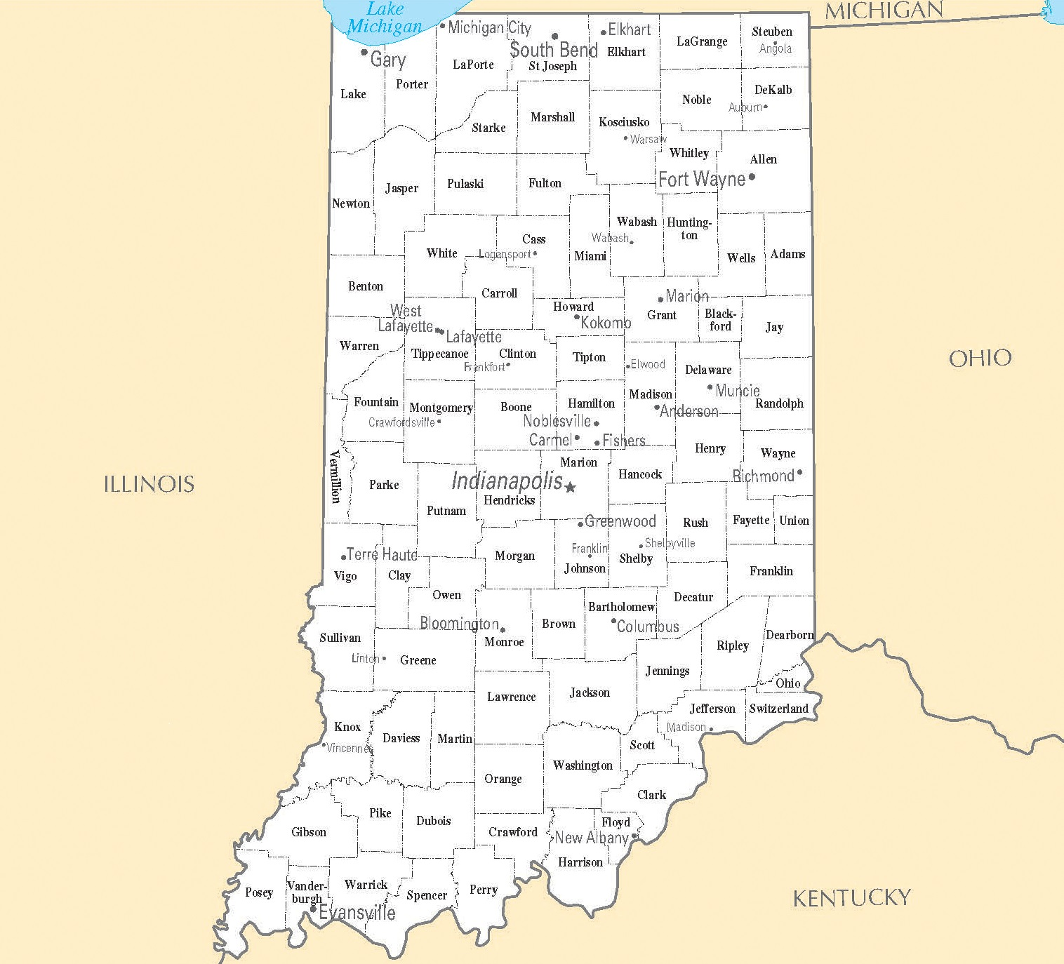 Indiana City Map | Large Printable High Resolution and Standard Map
