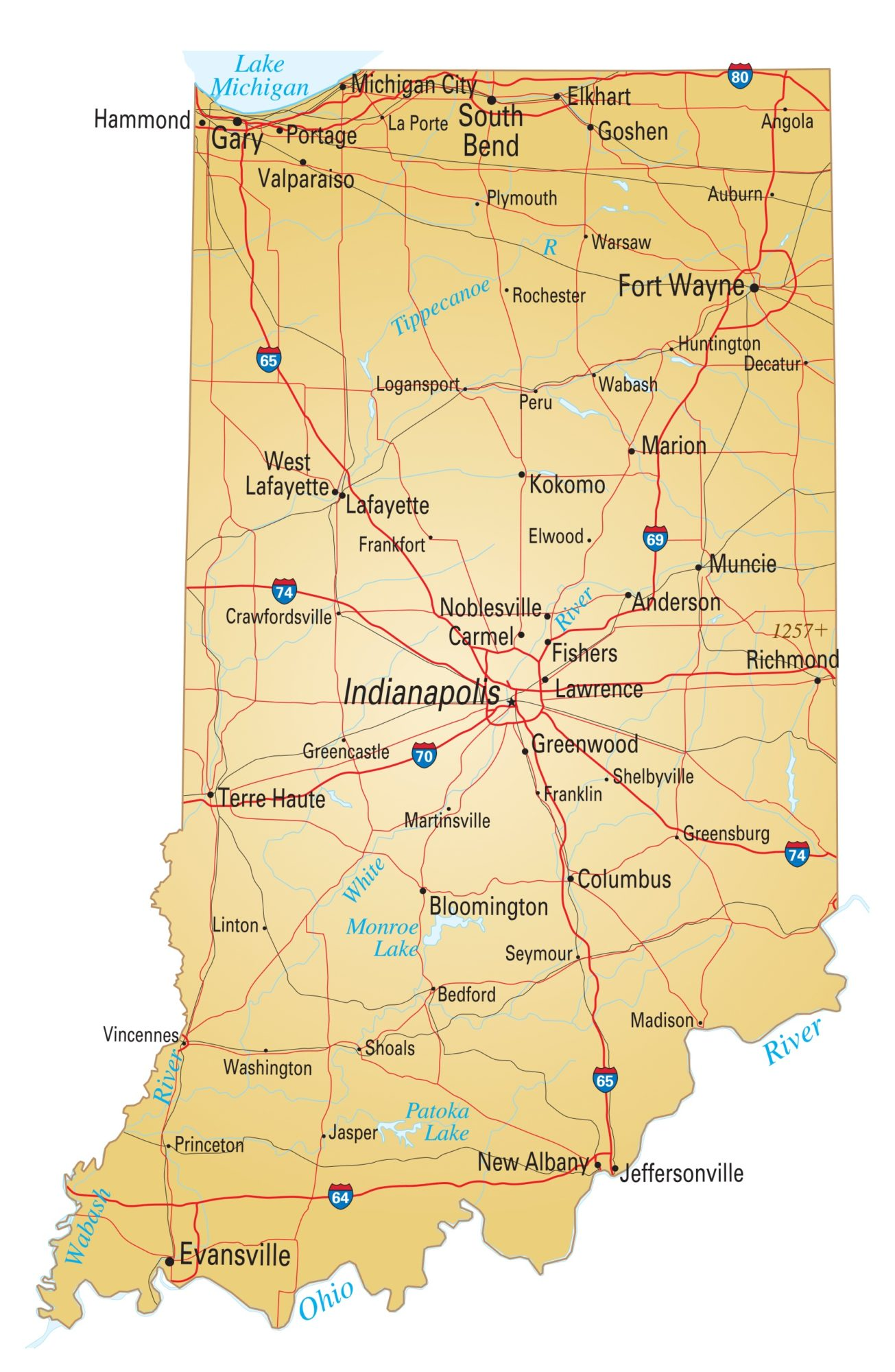 Indiana Details Map | Large Printable High Resolution and Standard Map