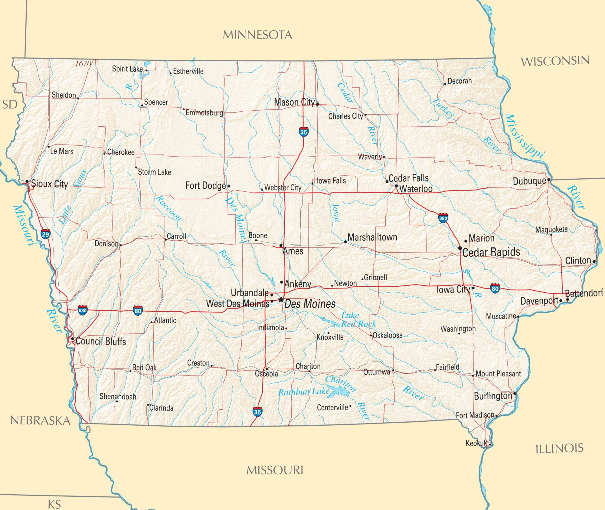 Iowa Political Map | Large Printable High Resolution and Standard Map