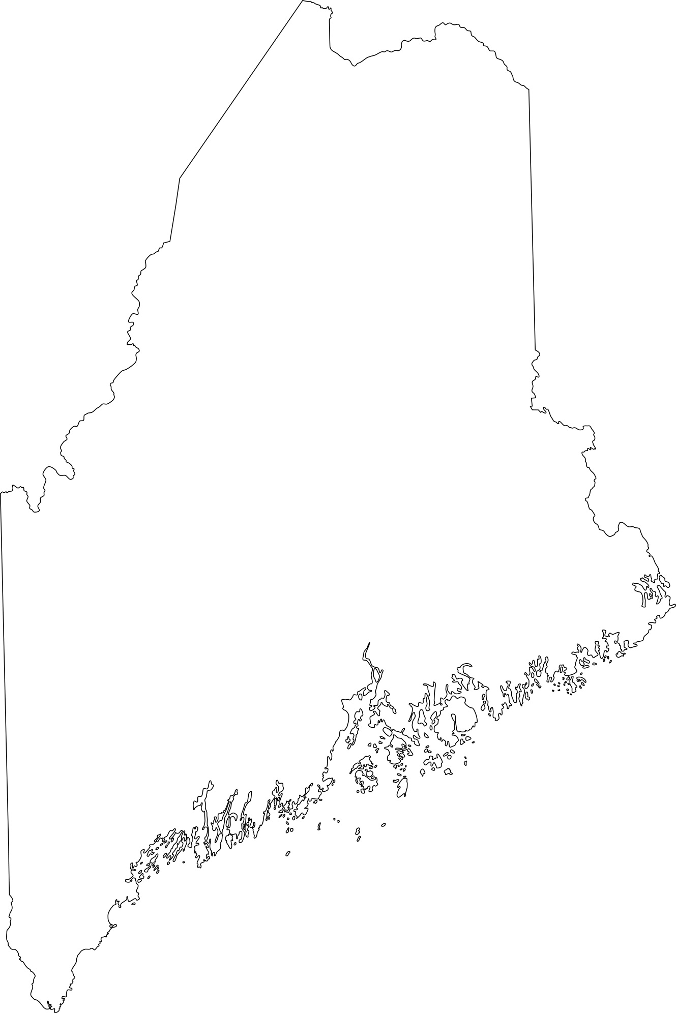 Maine blank outline Map | Large Printable High Resolution and Standard Map