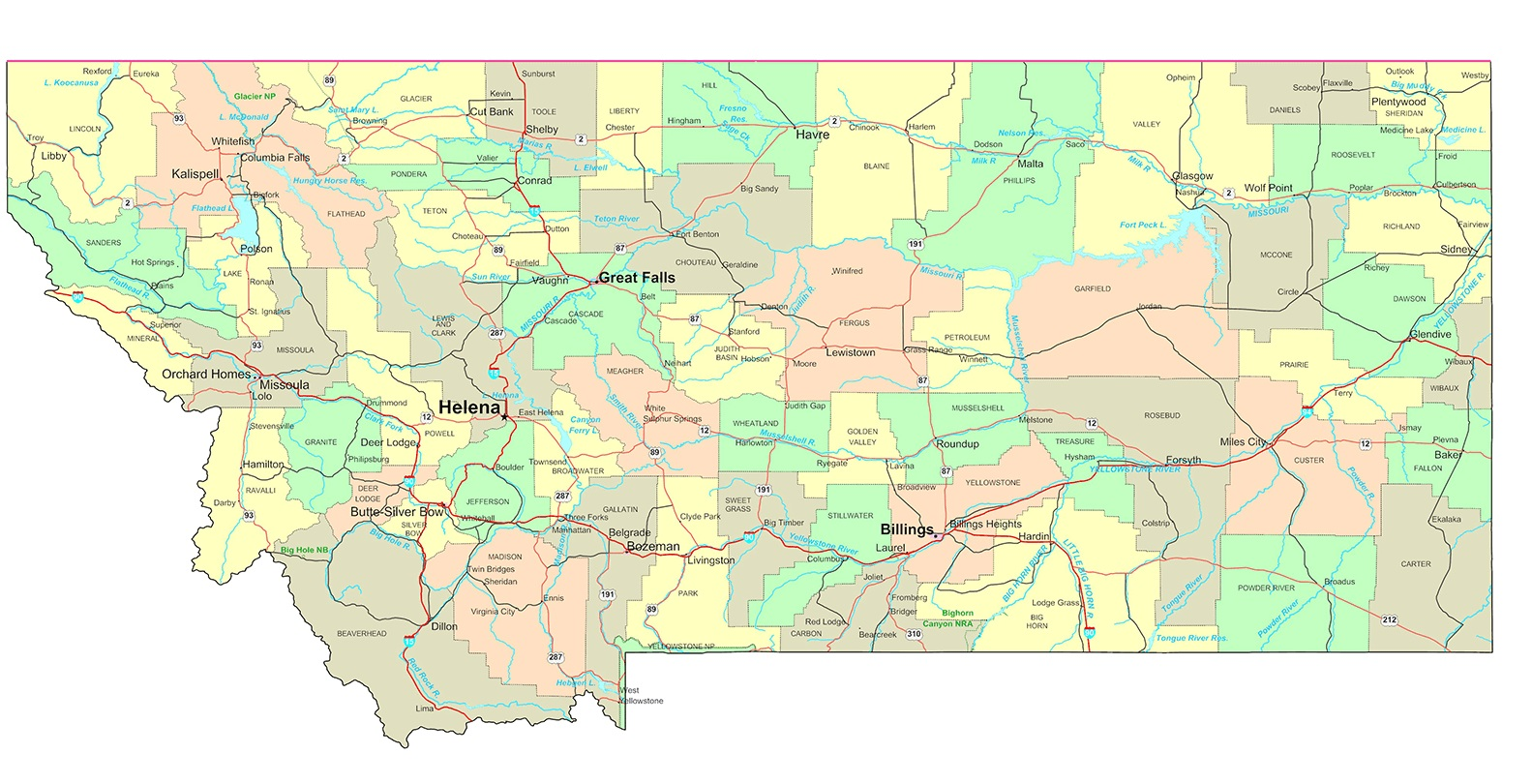 Montana Details Map | Large Printable High Resolution and Standard Map