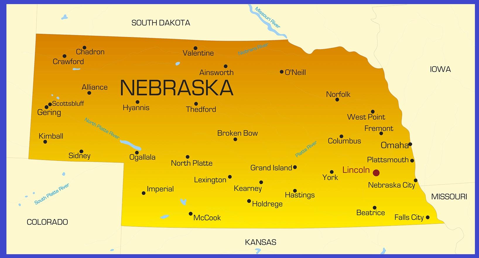 Nebraska Details Map | Large Printable High Resolution and Standard Map