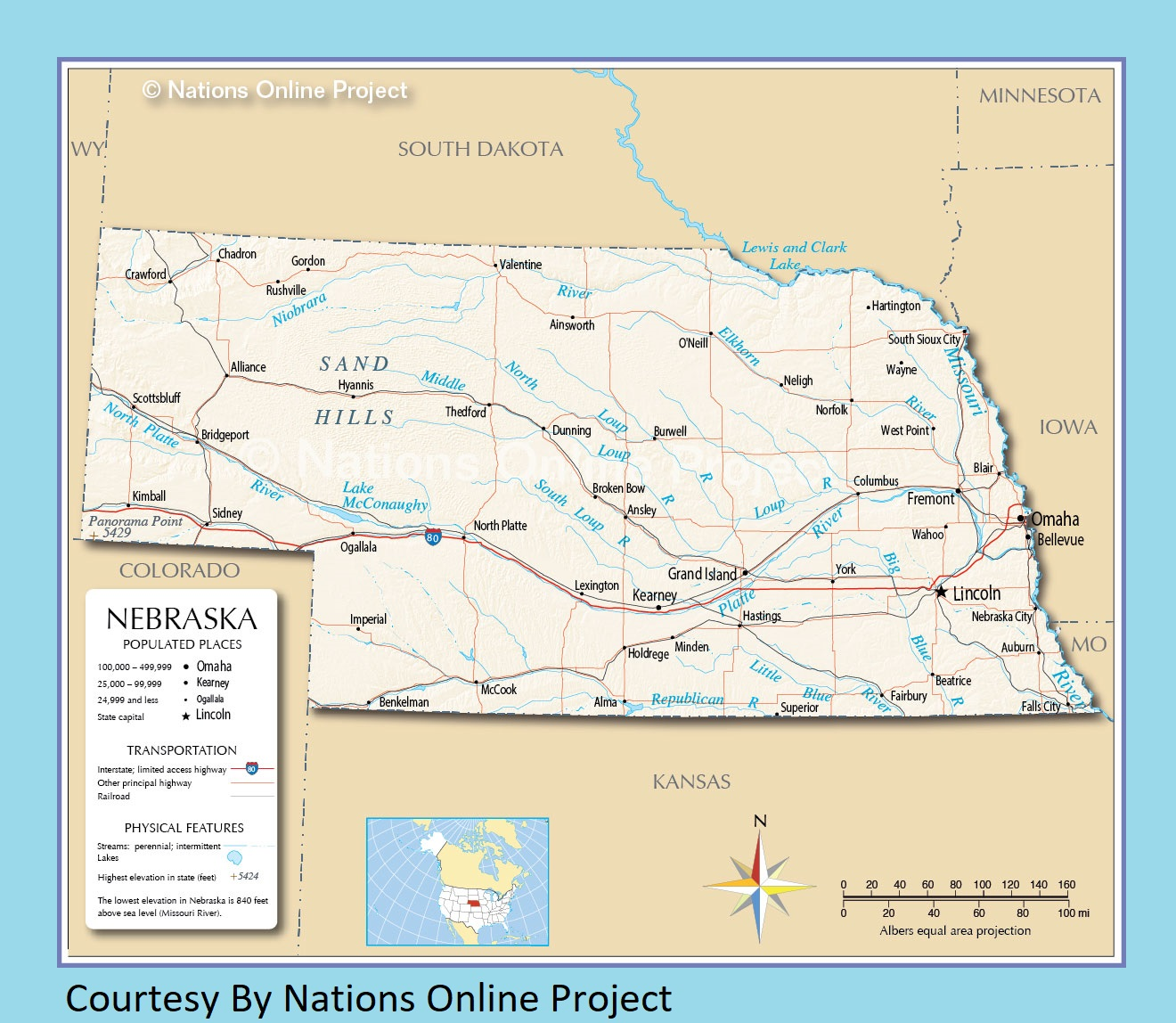 Nebraska Transportation and physical map large printable