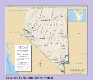 Nevada Transportation and physical map large printable