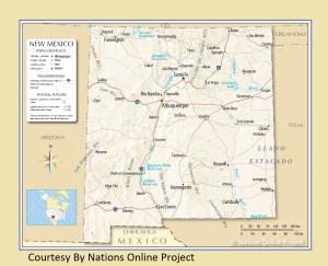 New Mexico Transportation and physical map large printable
