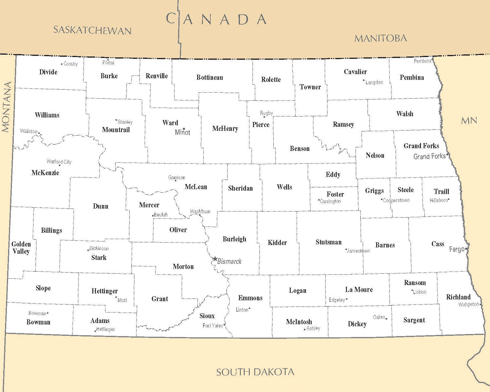 North Dakota Cities Map | Large Printable High Resolution and Standard Map