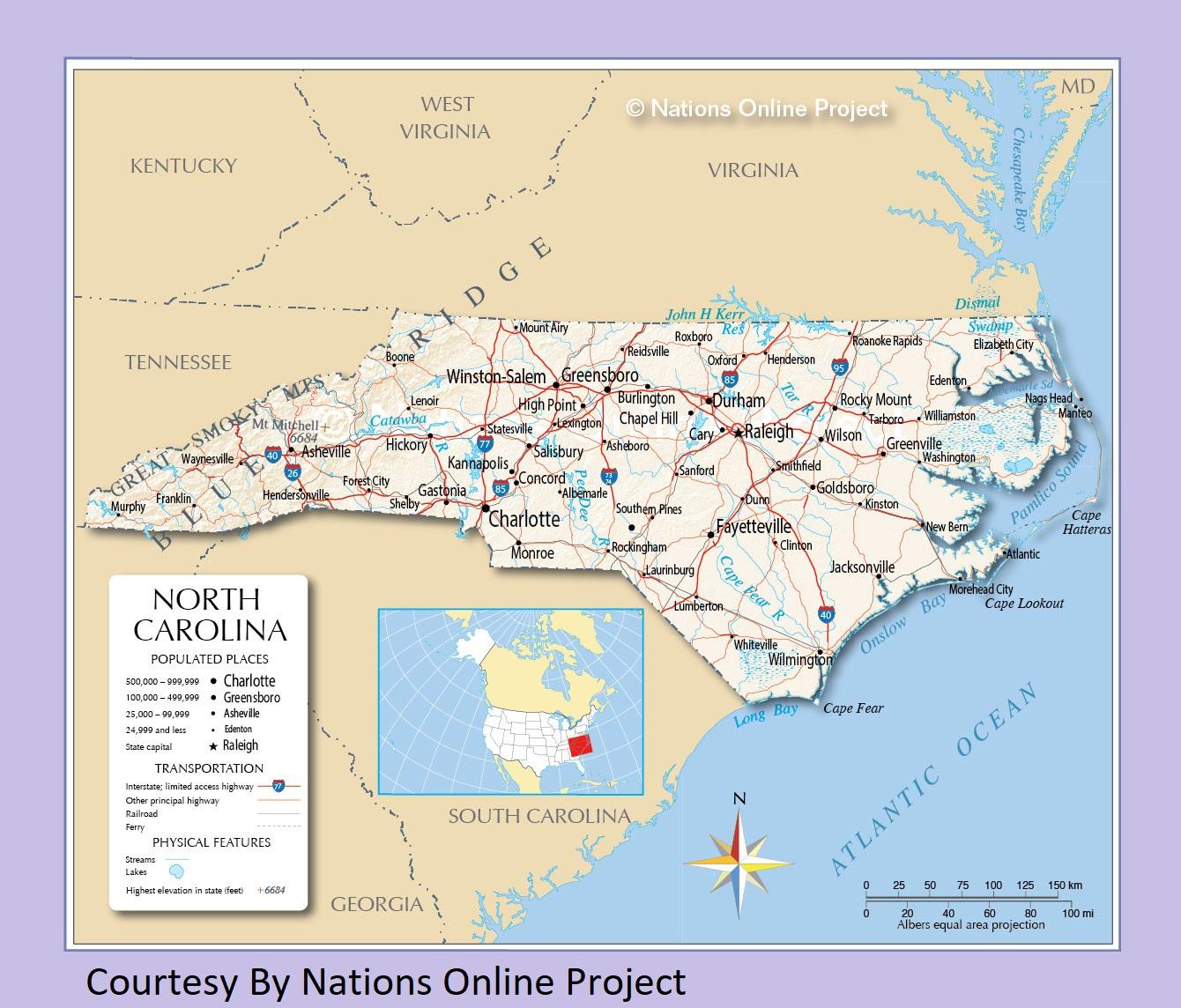North Carolina Transportation and physical map large printable