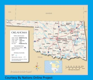 Oklahoma Transportation and physical map large printable