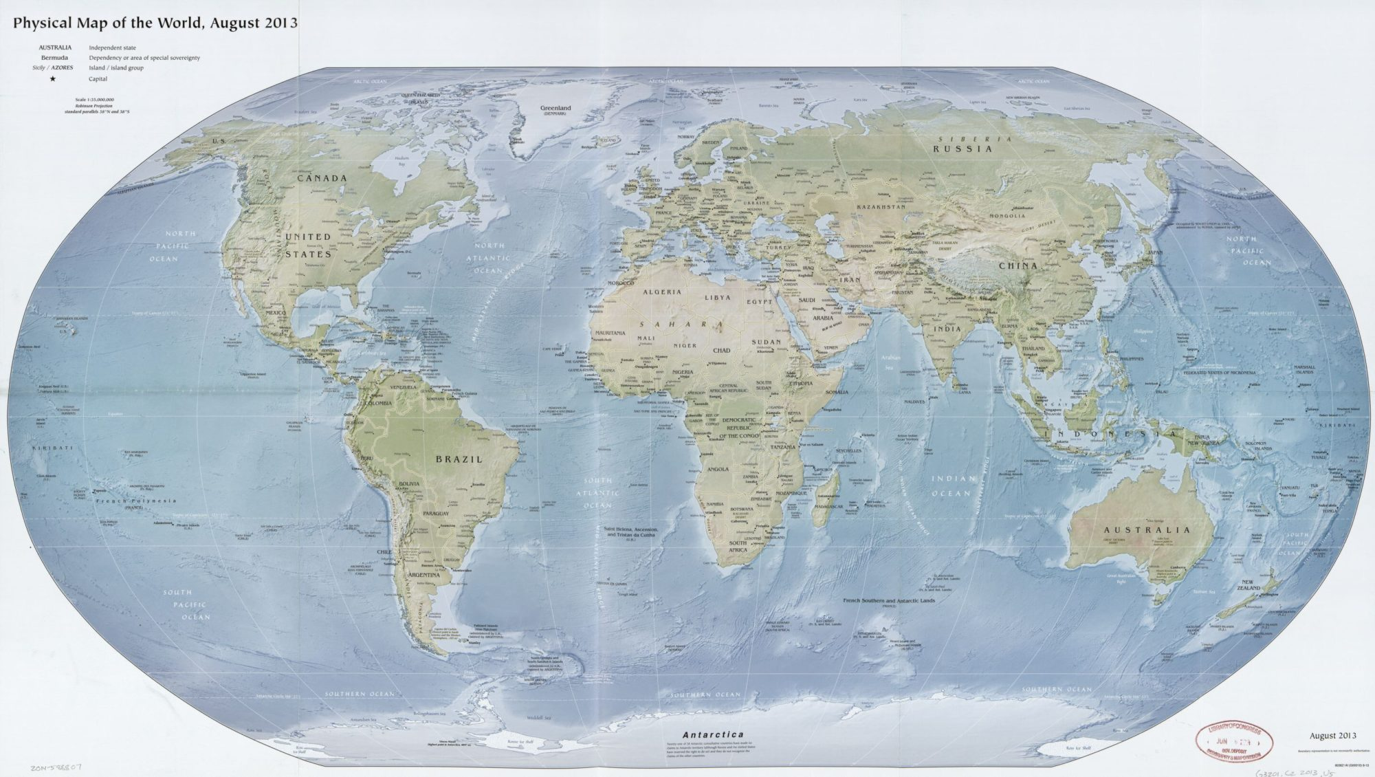 The World Physical Map  | August 2013| Large, Printable Downloadable Map