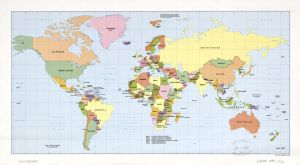 The World Political Map    April 1989   Large, Printable Downloadable Map