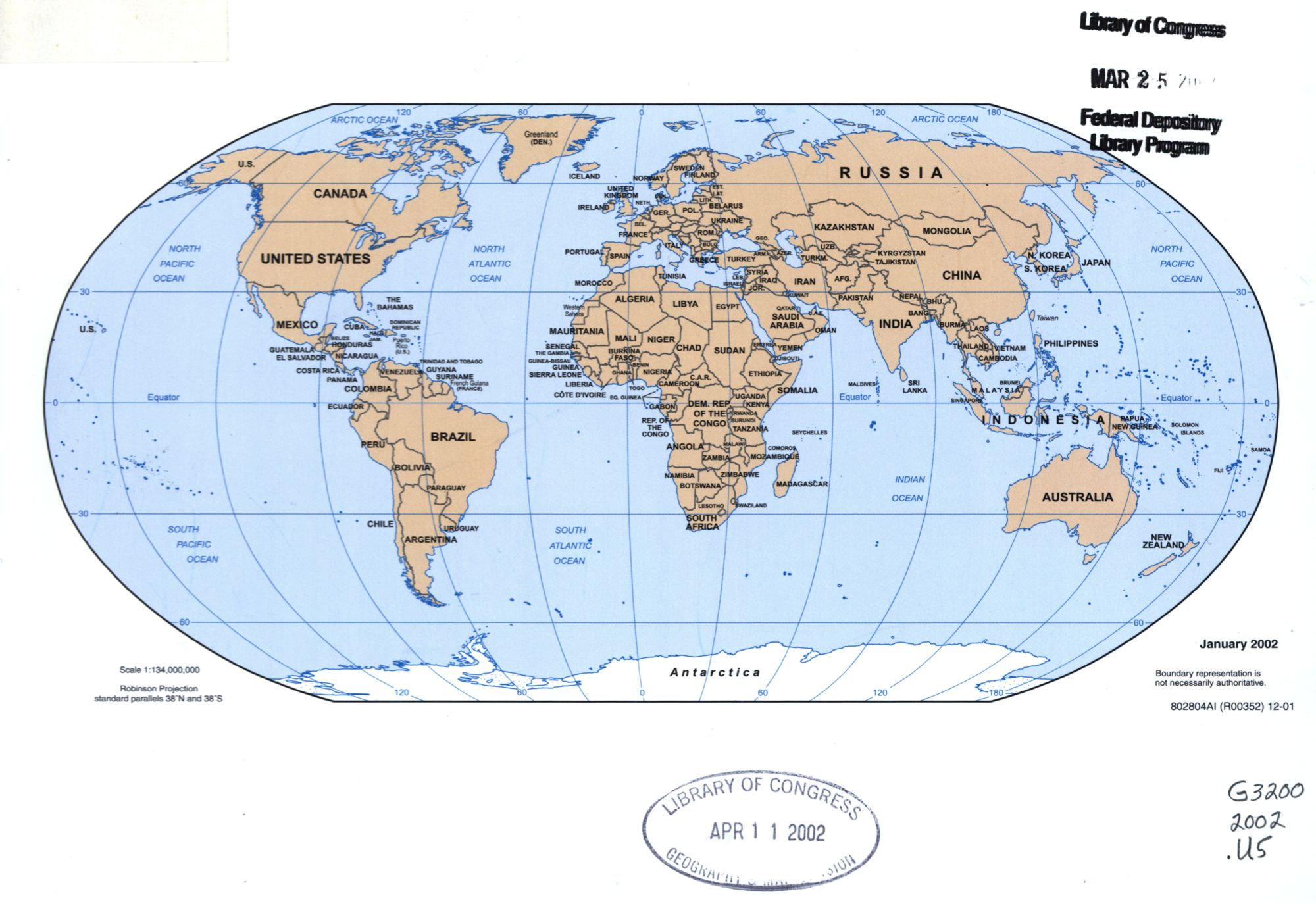 The World Political Map   April 2001   Large, Printable Downloadable Map