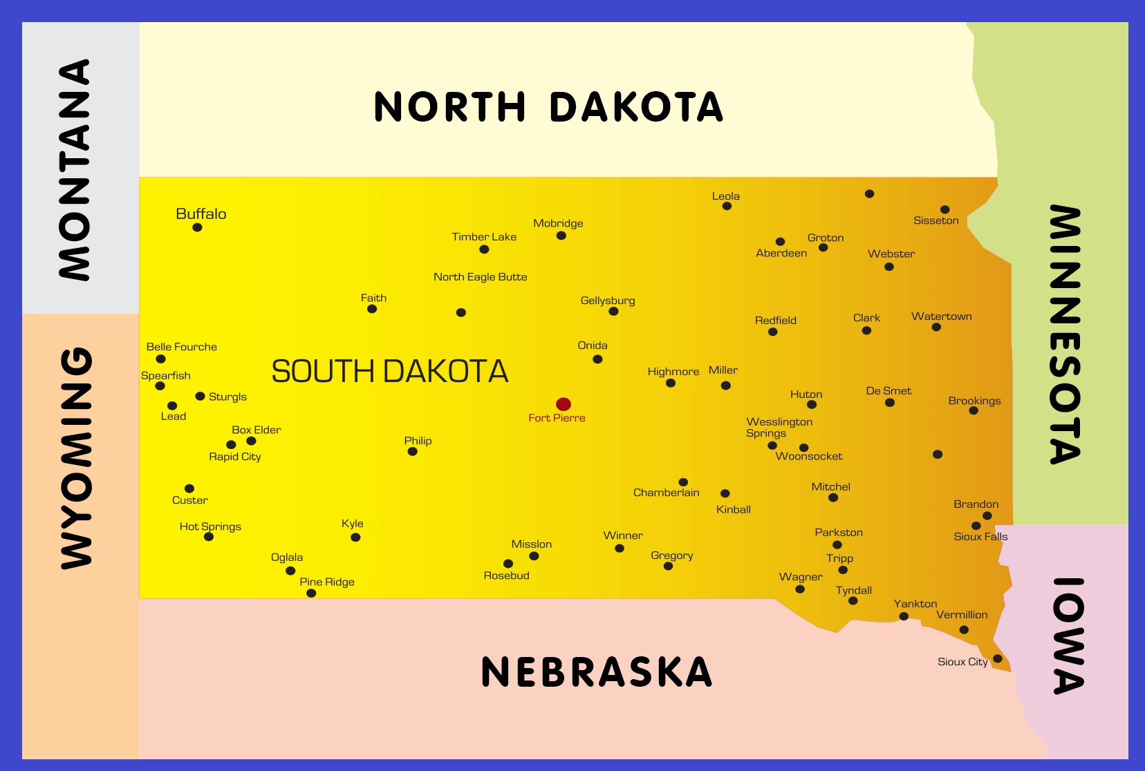 South Dakota Details Map | Large Printable High Resolution and Standard Map