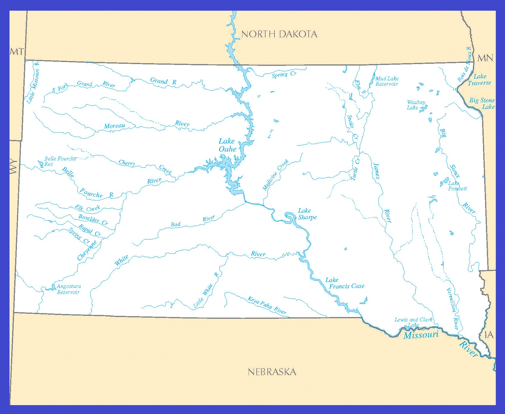 South Dakota Rivers Map | Large Printable High Resolution and Standard Map