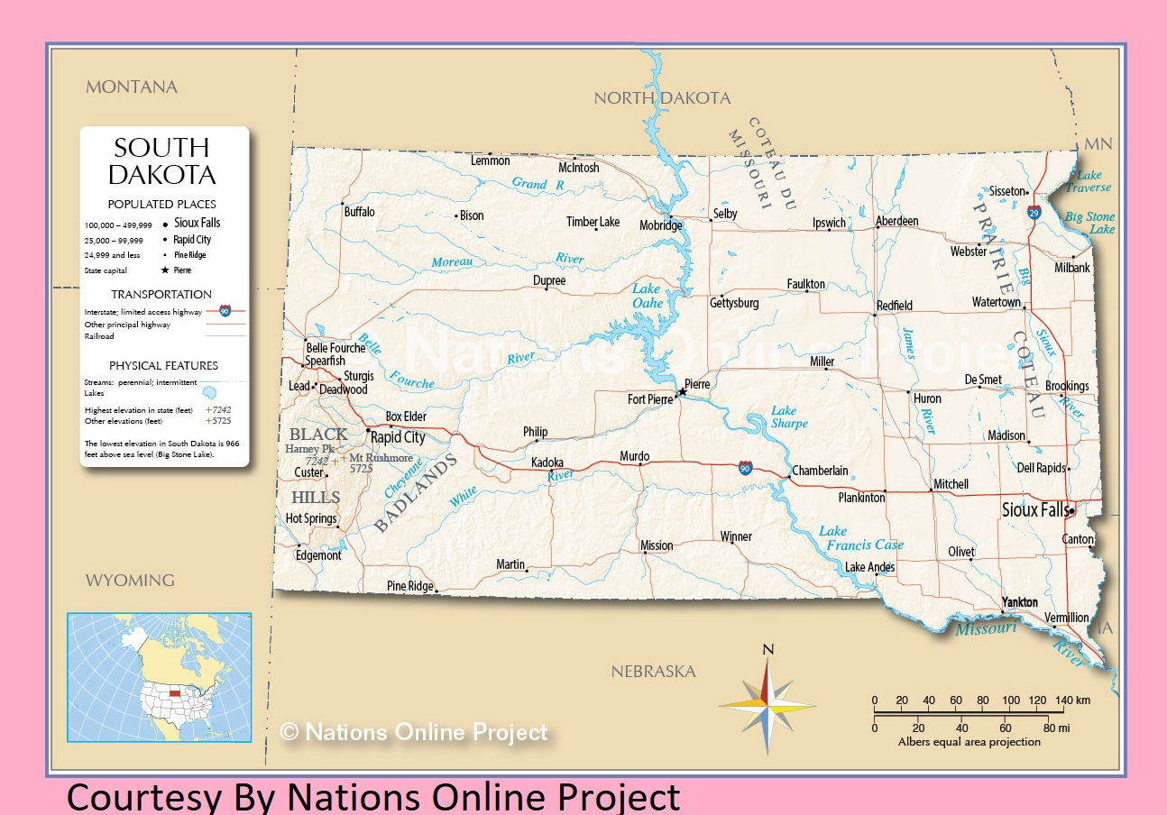 South Dakota Transportation and physical map large printable