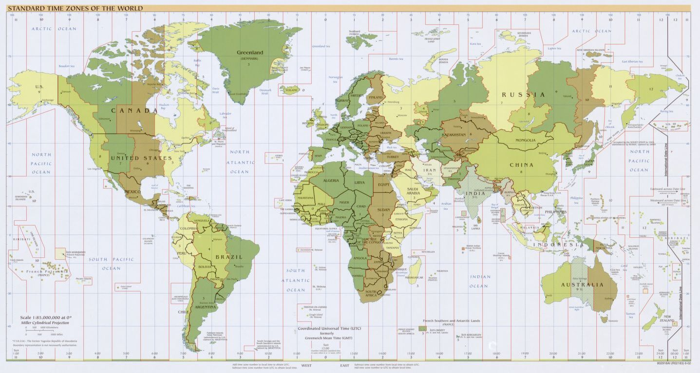 The World Standard time zones Map   | 2002 | Large, Printable Downloadable Map