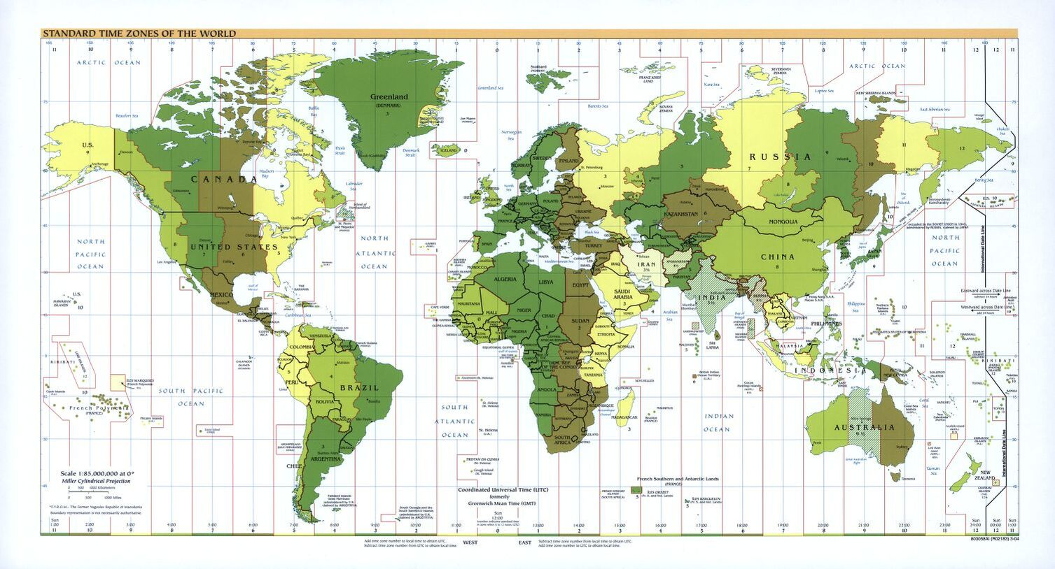 The World Standard time zones Map   | 2004 | Large, Printable Downloadable Map