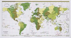 The World Standard time zones Map     2009   Large, Printable Downloadable Map