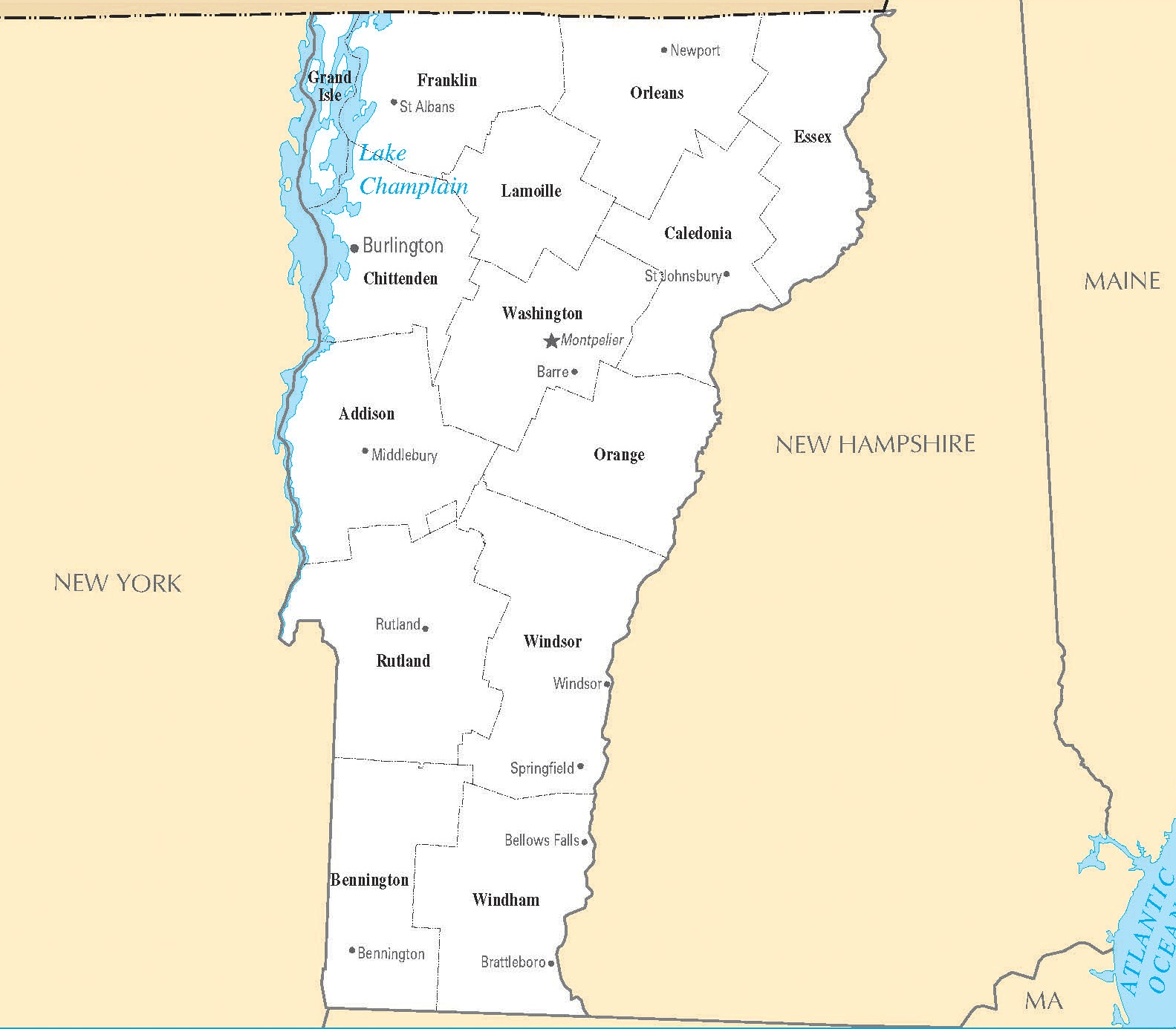 Vermont City Map   Large Printable High Resolution and Standard Map