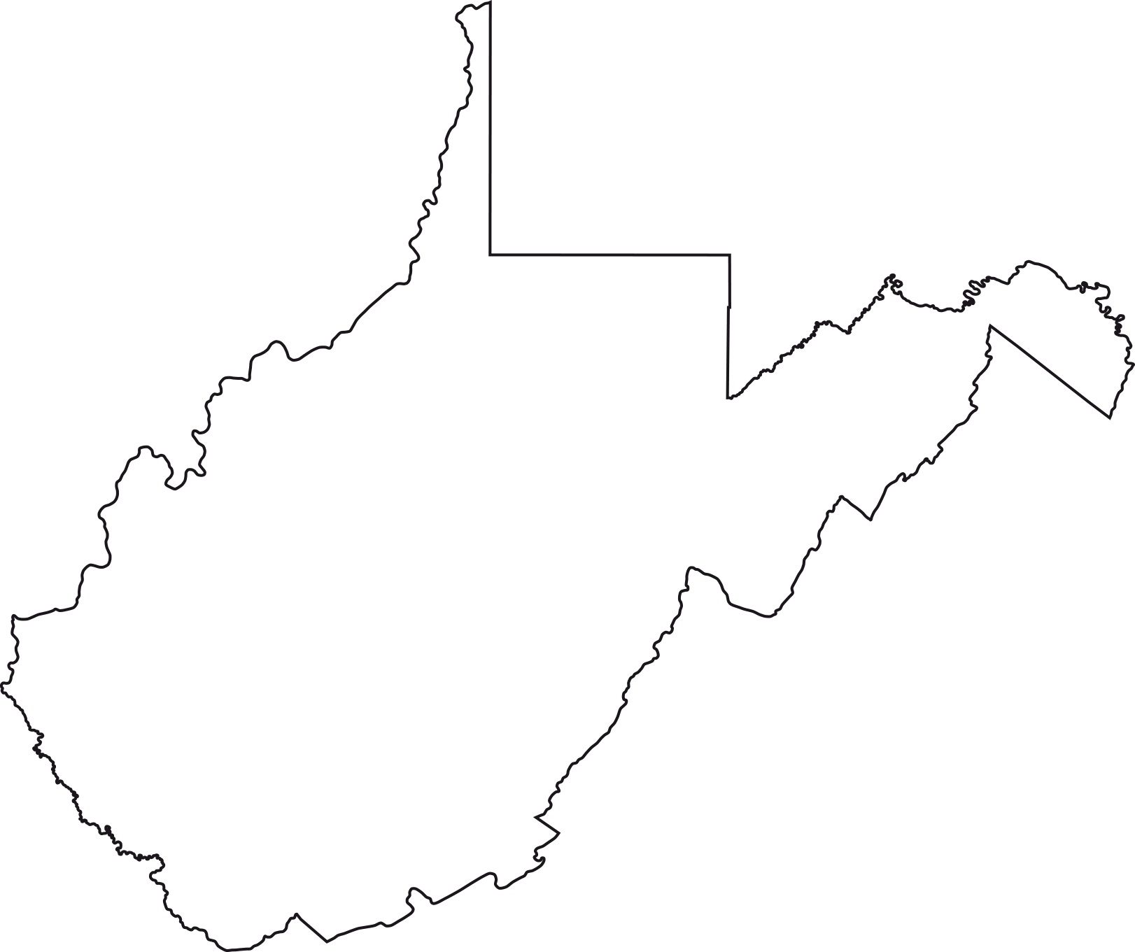 West Virginia Blank Outline Map