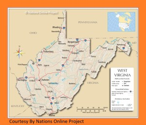 West Virginia Transportation and physical map large printable