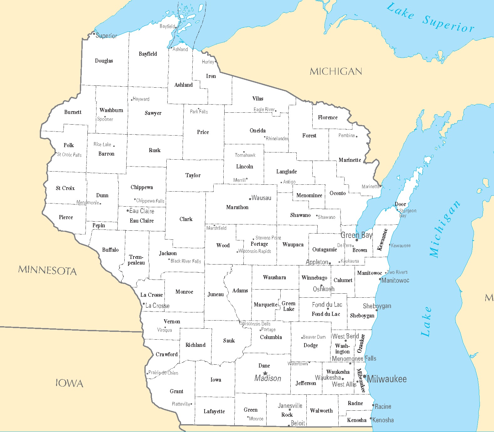 Wisconsin City Map | Large Printable High Resolution and Standard Map