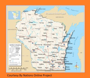 Wisconsin Transportation and physical map large printable
