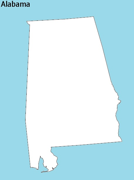Alabama Outline  Map  | Outline  Map of Alabama