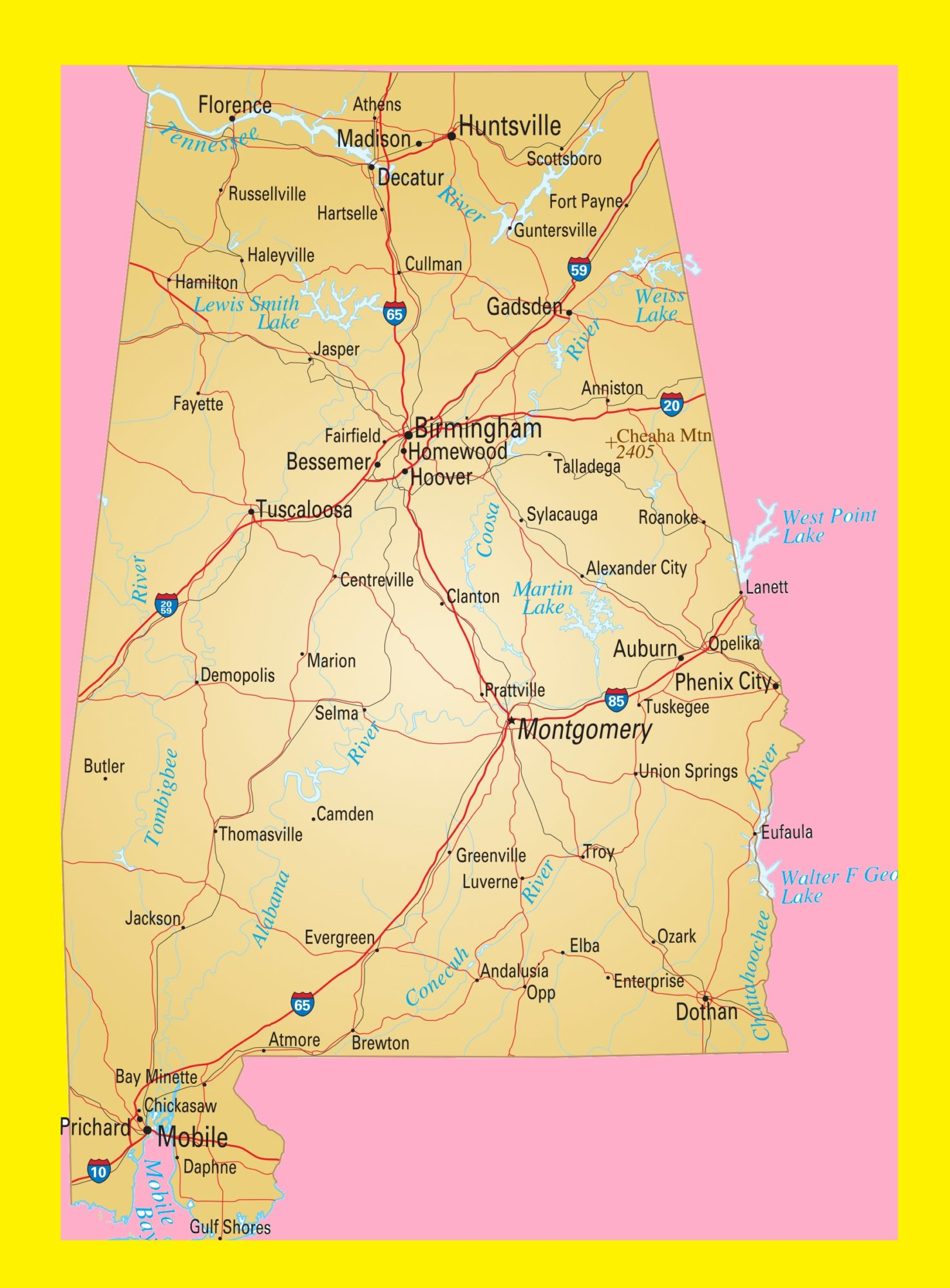Alabama Large Transport Map | Transport Map of Alabama