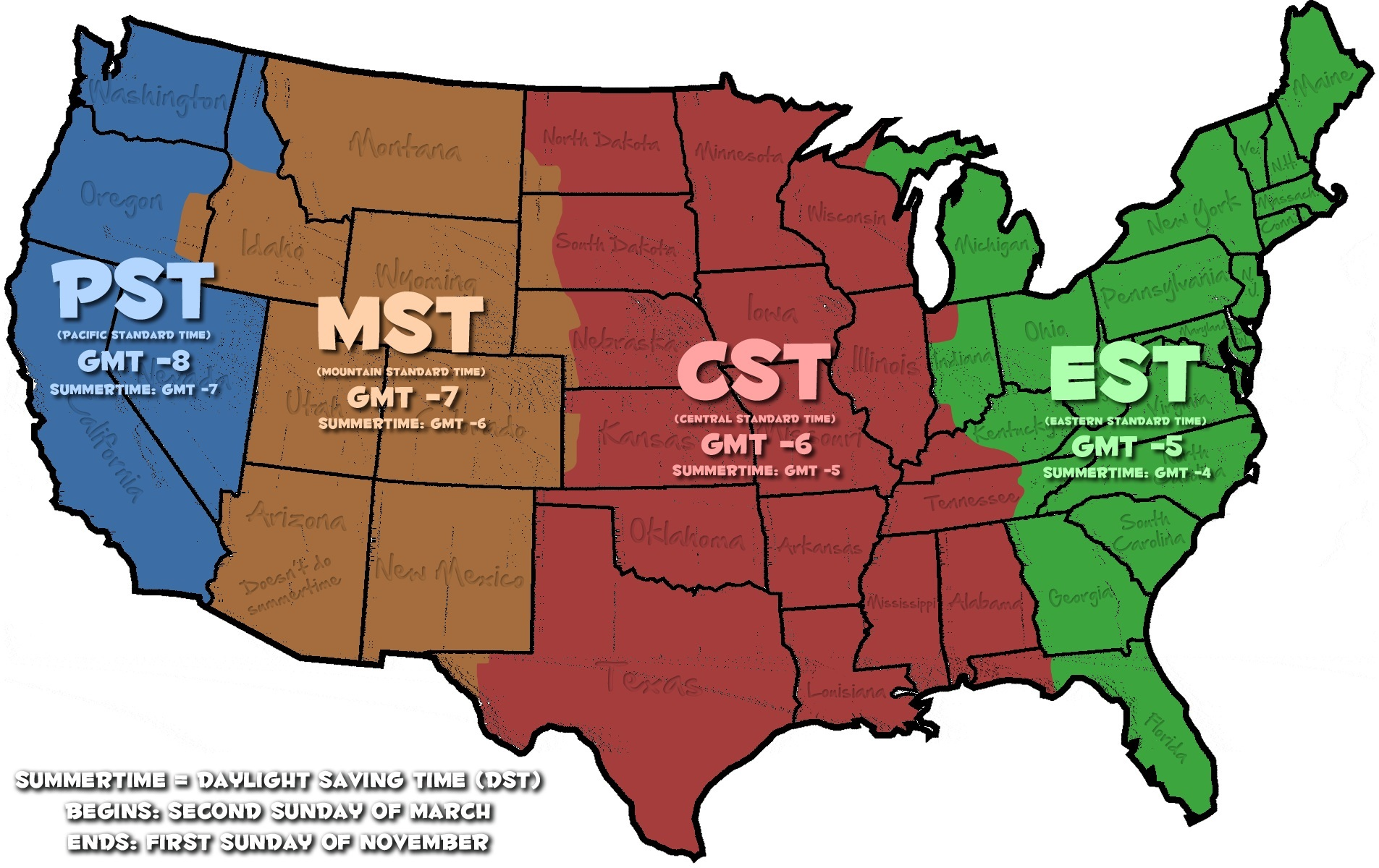 The United States Time Zone Map Large Printable Hd Image High Resolution And Oil Color Whatsanswer
