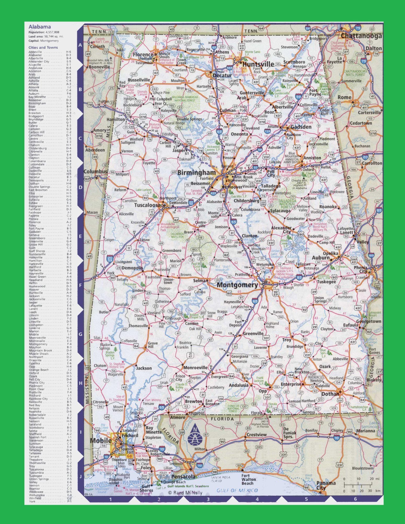 Alabama Large Political  Map   Political  Map of Alabama With Capital , city and River lake-2