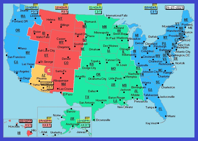 Us Time Zones Map With States Printable USA Time Zone Map | Large Printable Colorful State with Cities Map