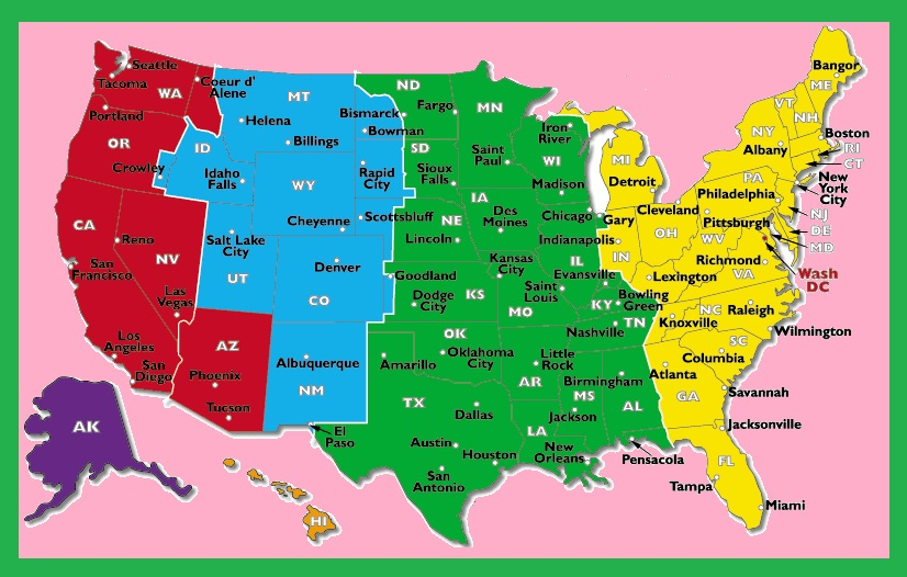 Us Map Time Zones With States The United States Time Zone Map | Large Printable Colorful with