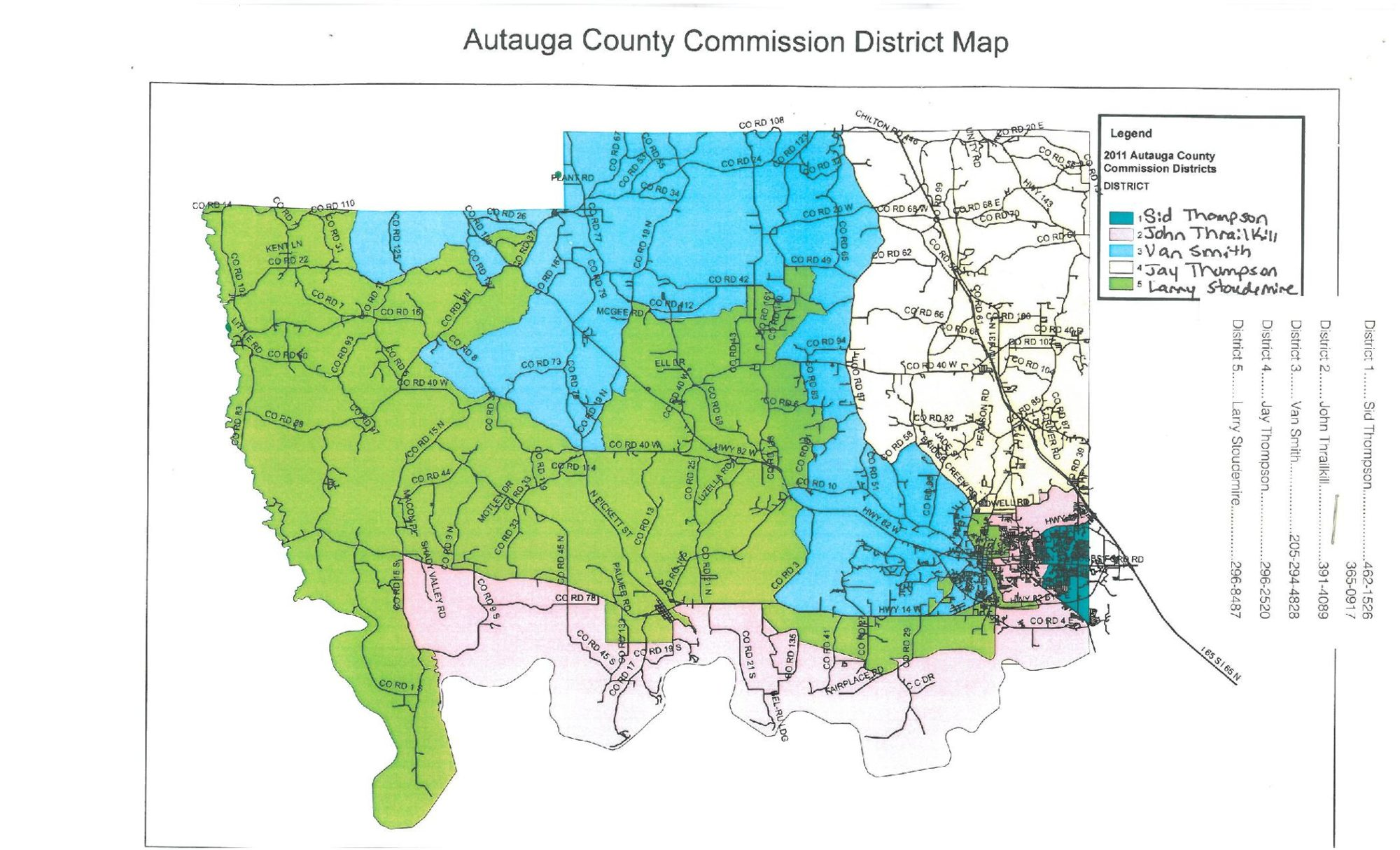 Autauga County District Map |  Alabama State – Large, Printable Map