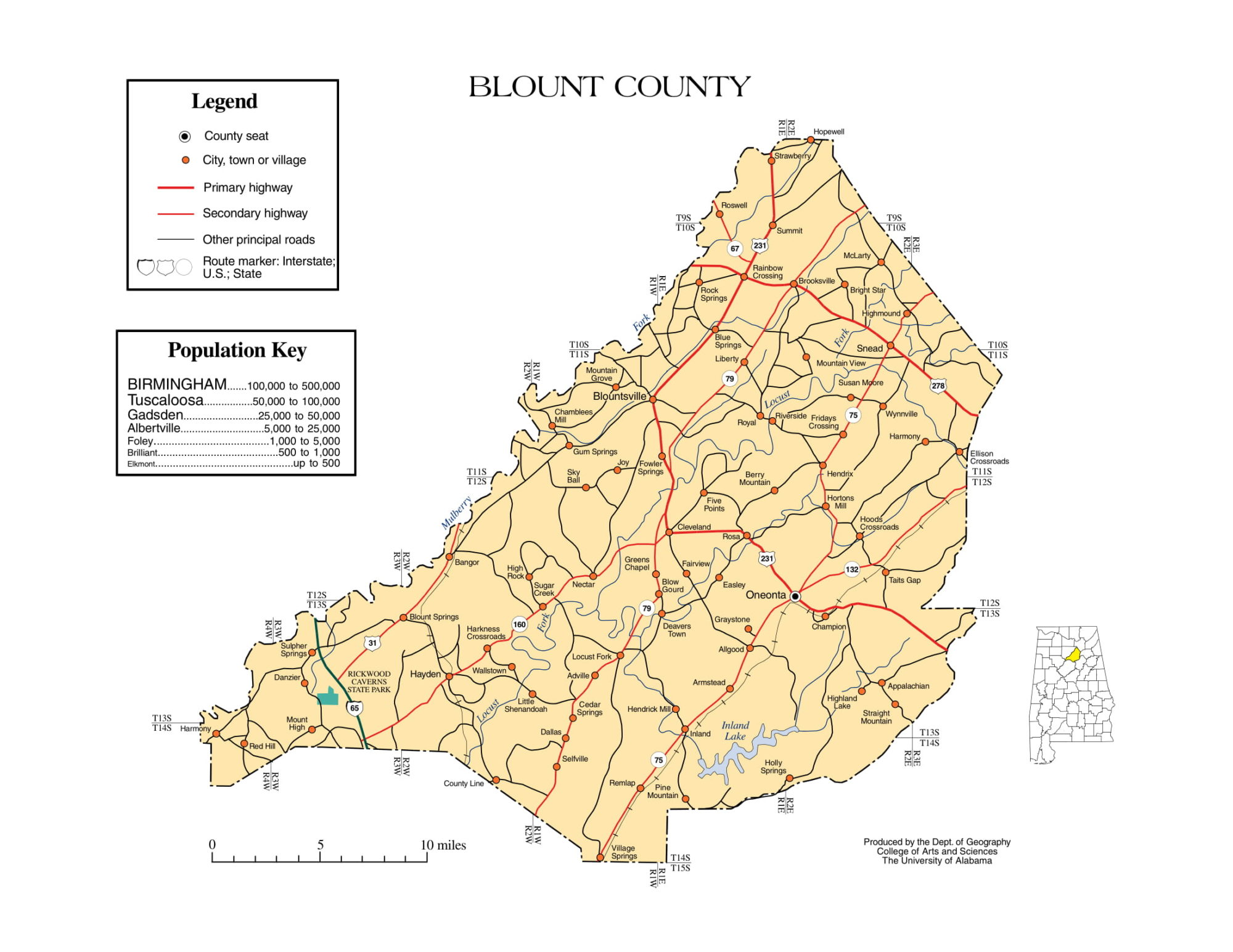 Blount County Map |  Printable Gis Rivers map of Blount Alabama