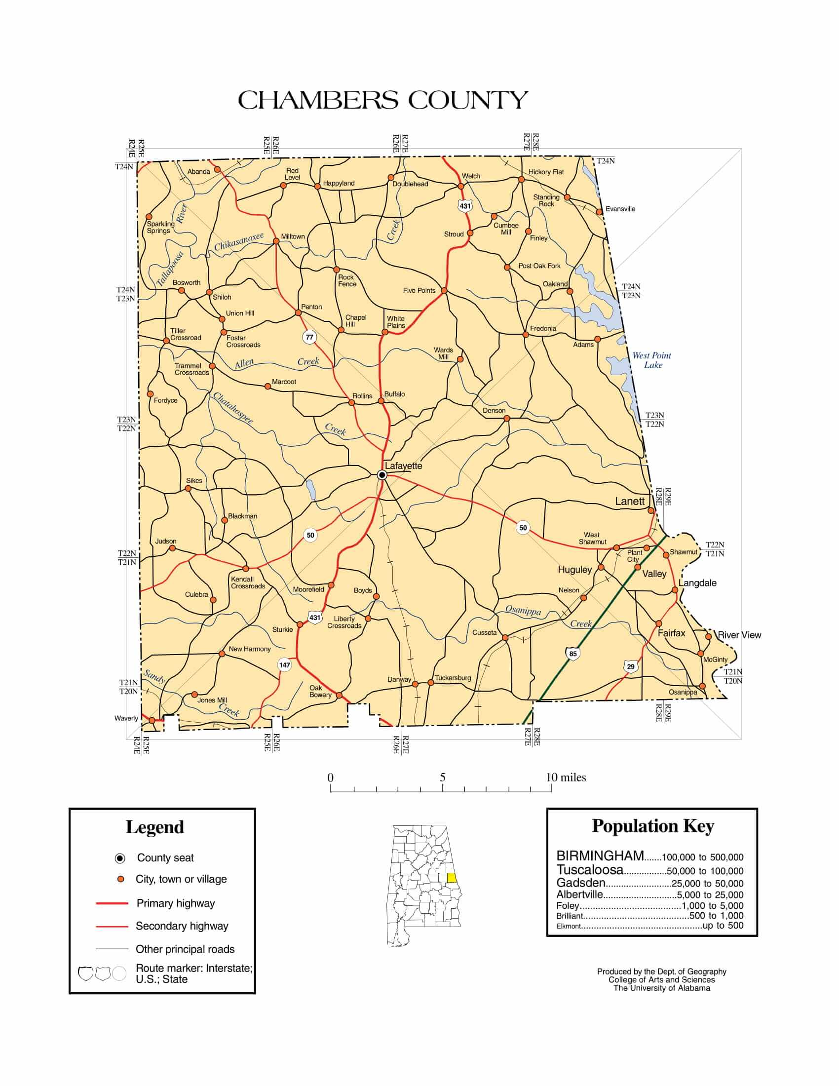 Chambers County Map |  Printable Gis Rivers map of Chambers Alabama