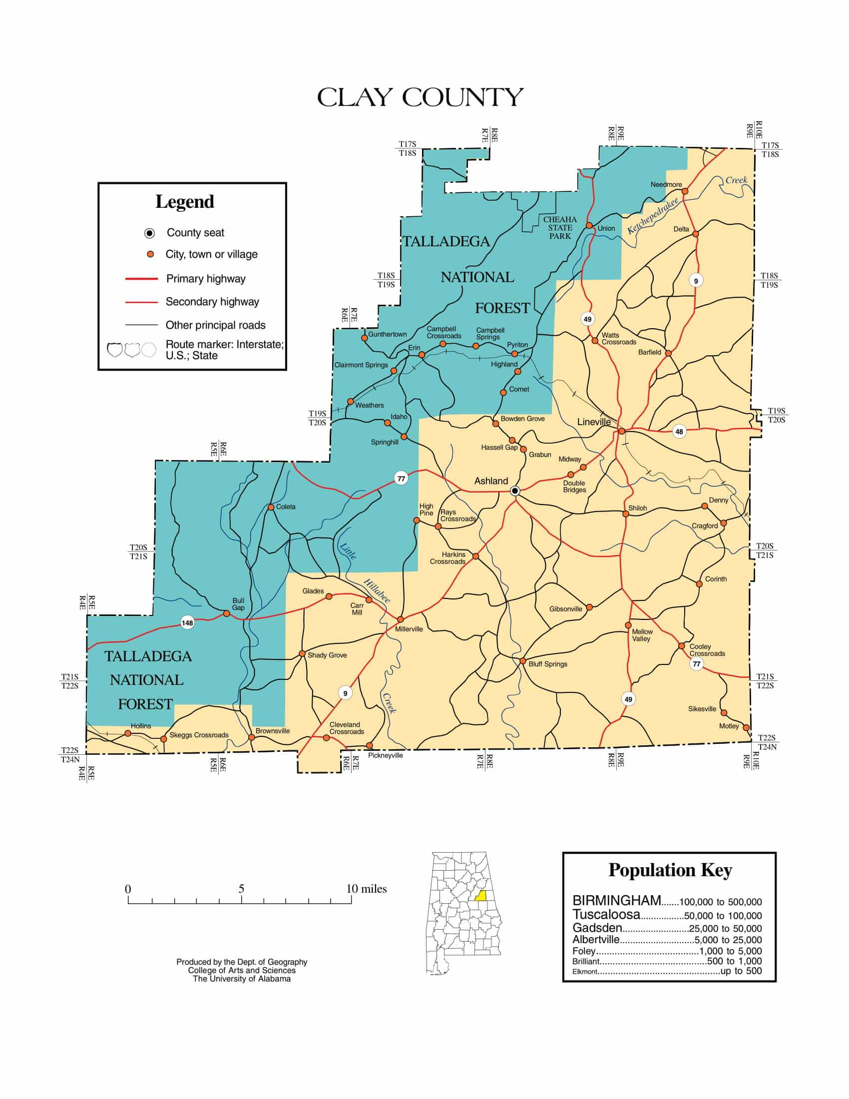 Clay County Map |  Printable Gis Rivers map of Clay Alabama