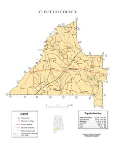 Conecuh County Map |  Printable Gis Rivers map of Conecuh Alabama