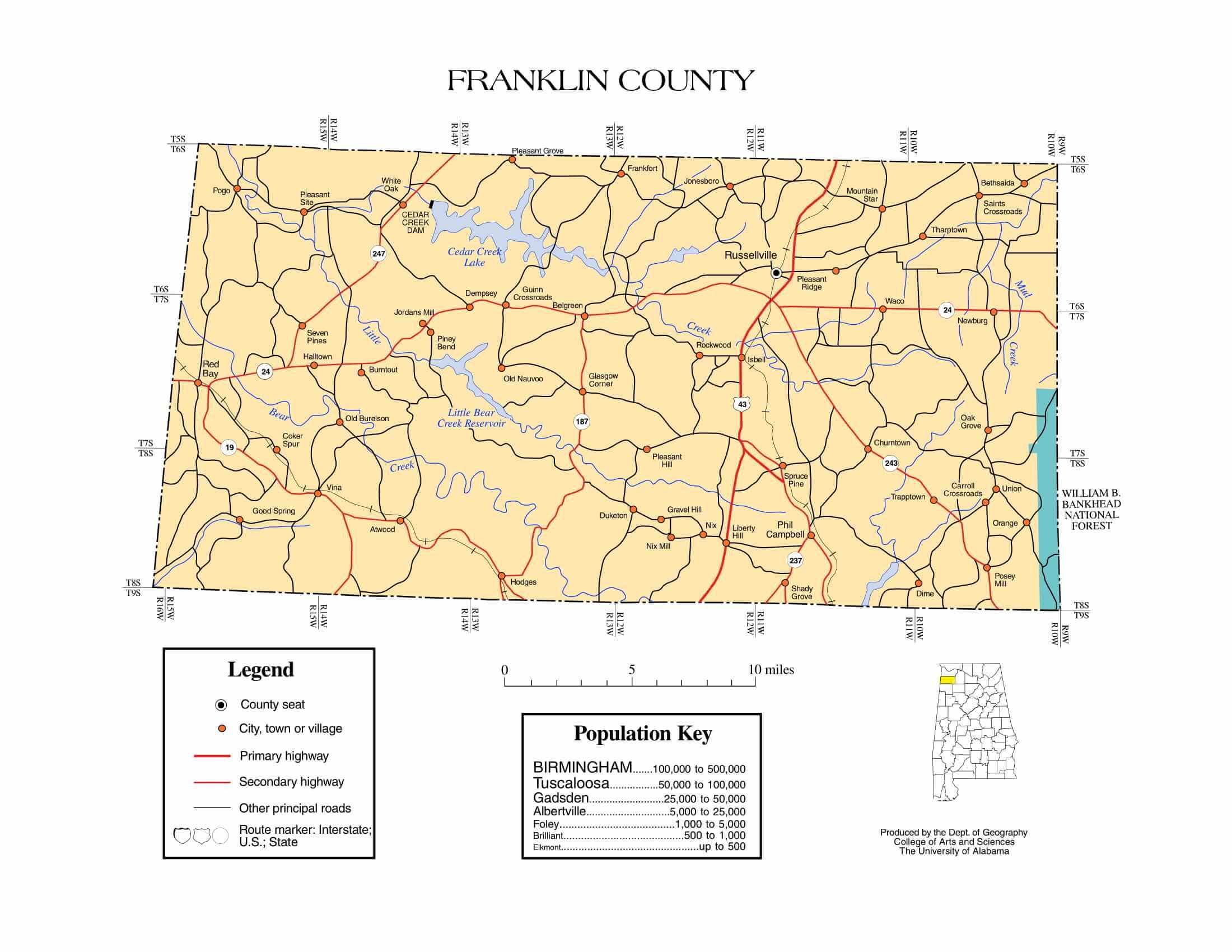 Franklin County Map |  Printable Gis Rivers map of Franklin Alabama