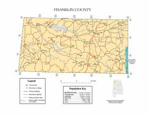 Franklin County Map |  Printable Gis Rivers map of Franklin Alabama