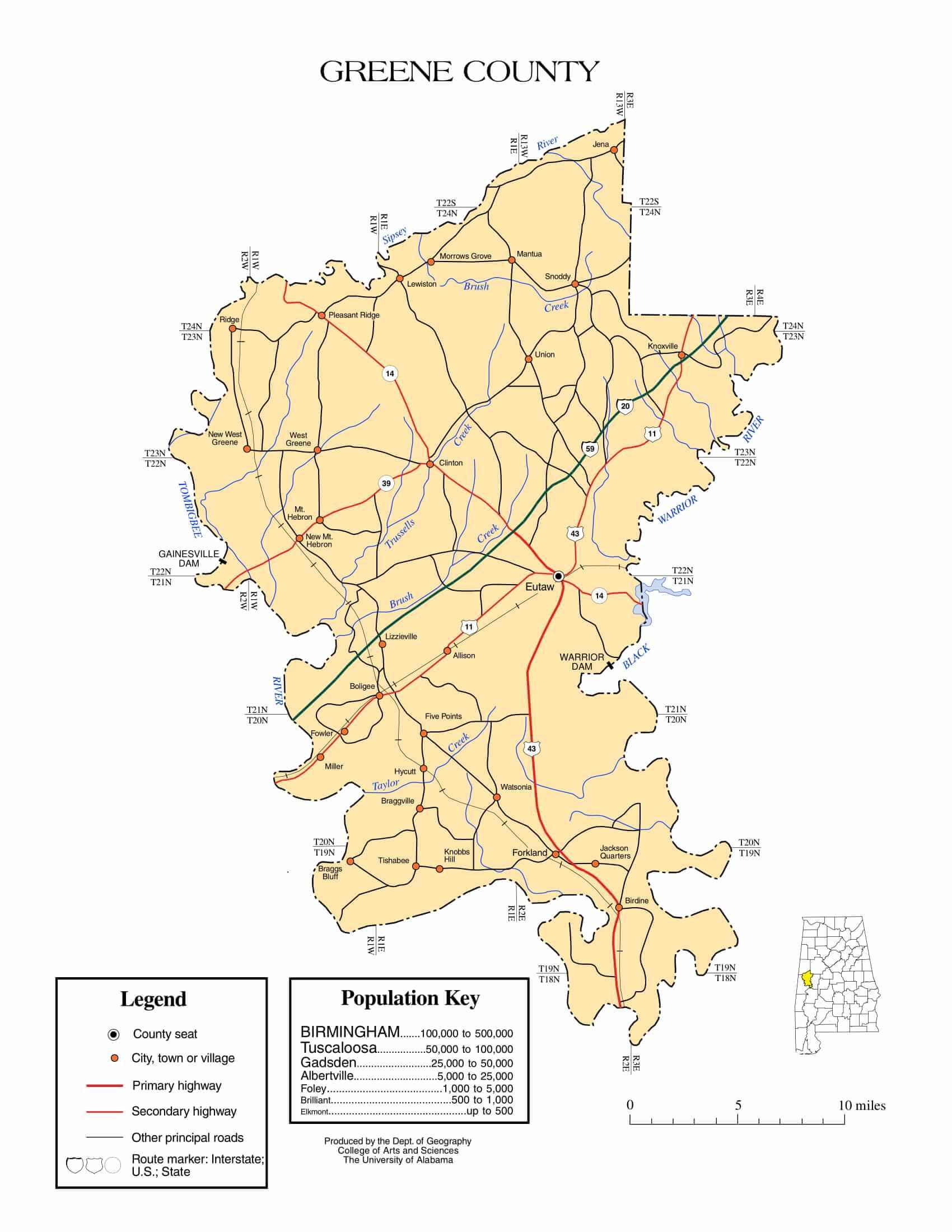 Greene County Map |  Printable Gis Rivers map of Greene Alabama