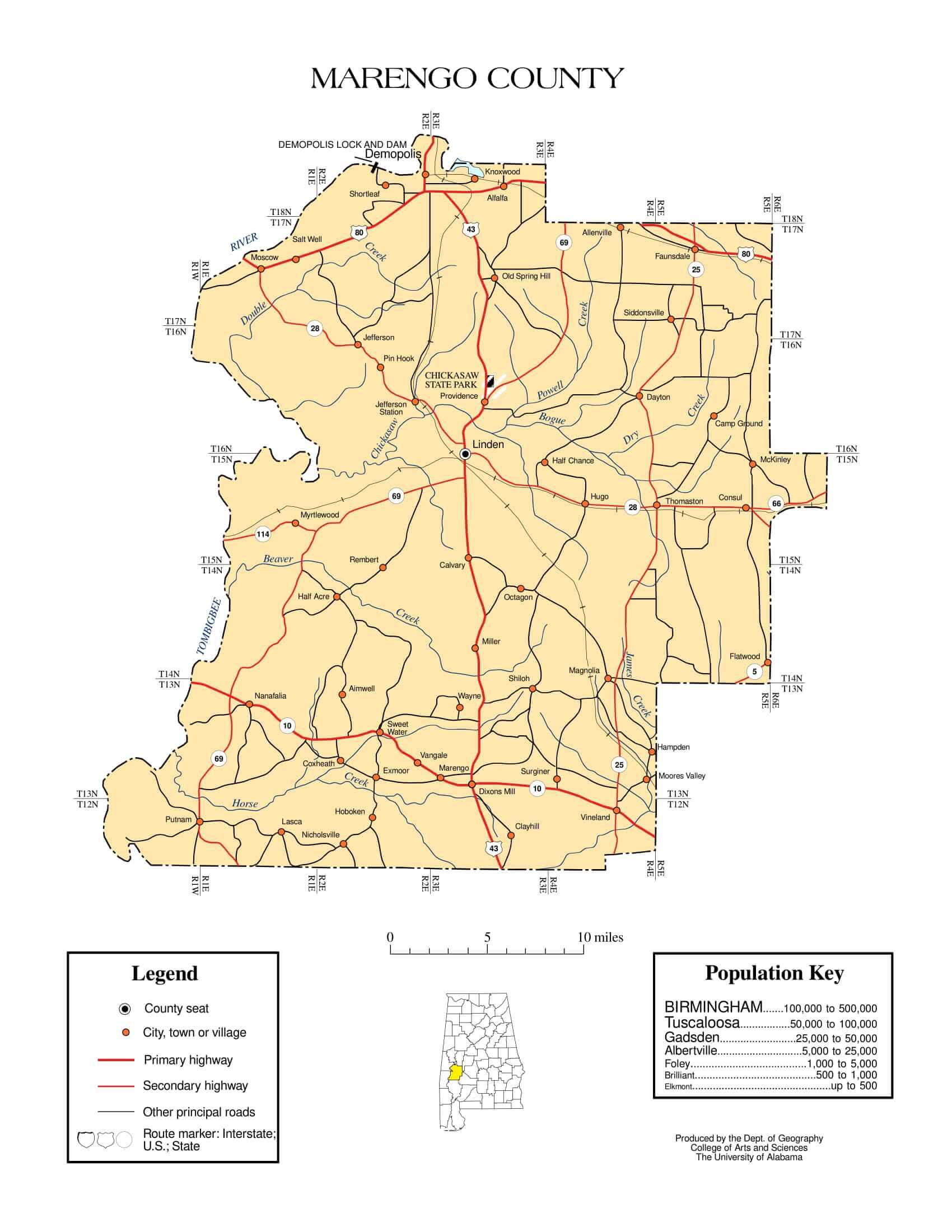 Marengo County Map |  Printable Gis Rivers map of Marengo Alabama