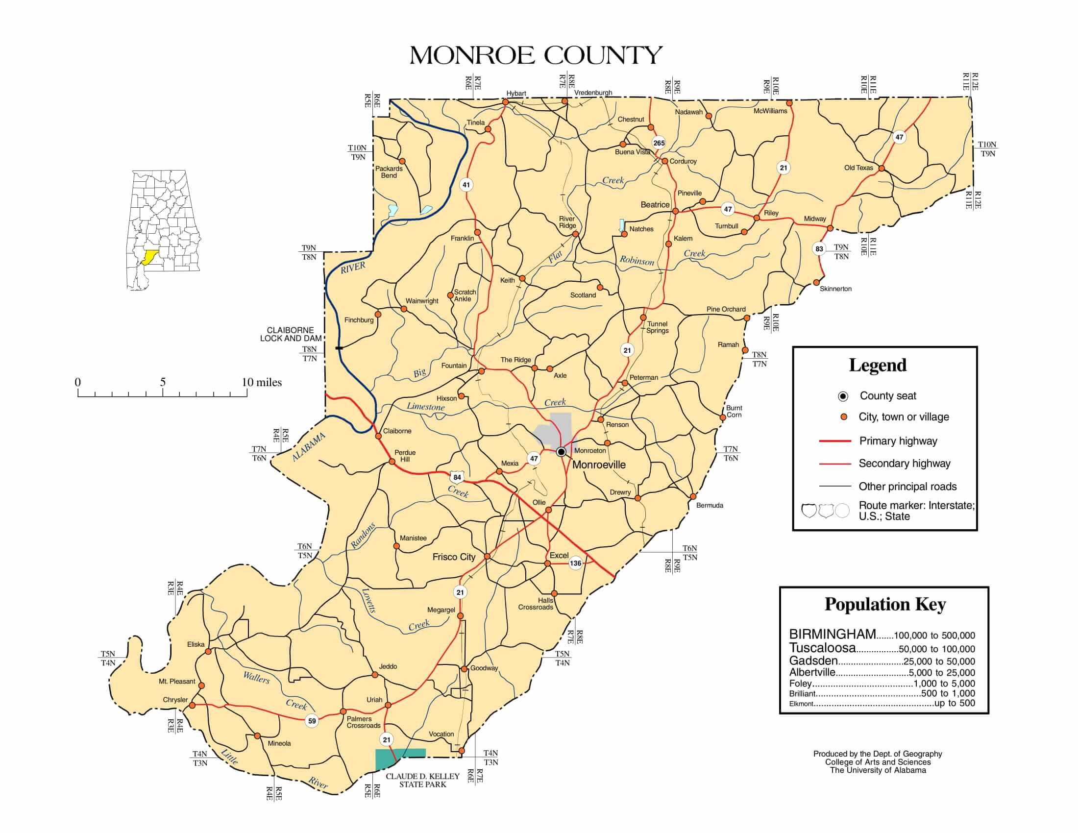 Monroe County Map |  Printable Gis Rivers map of Monroe Alabama