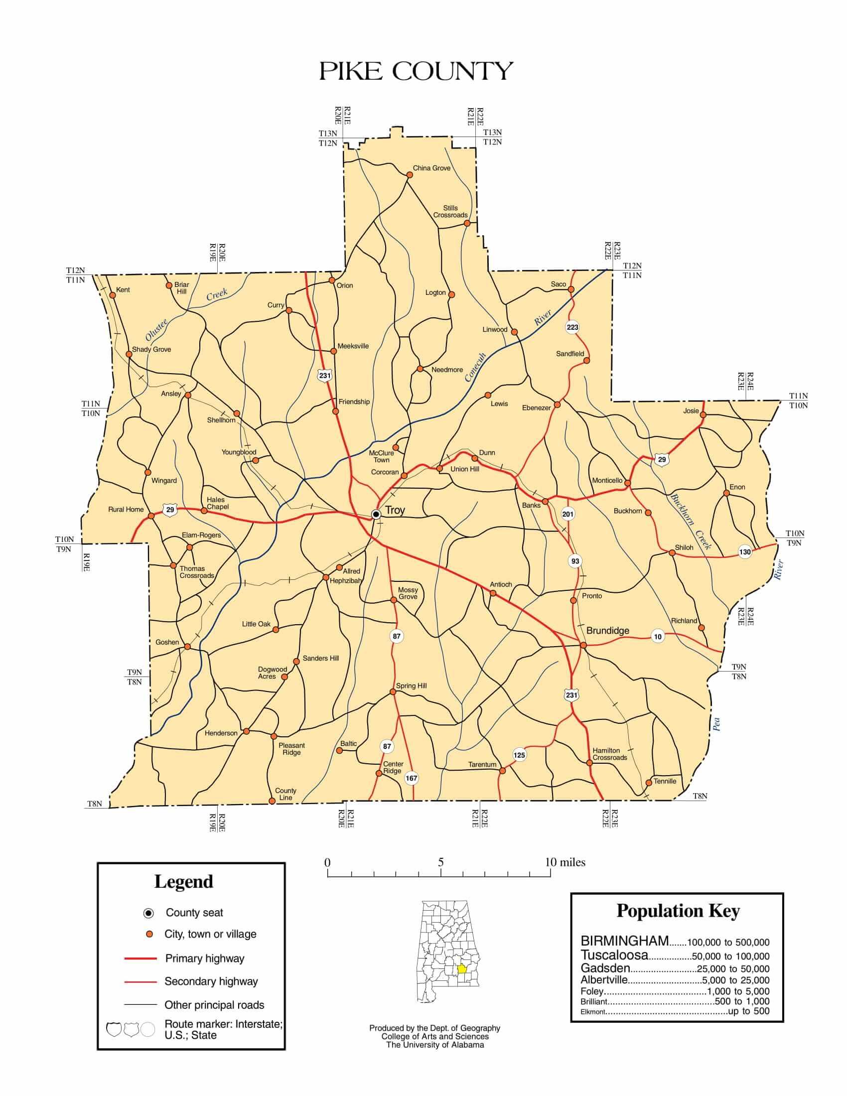 Pike County Map |  Printable Gis Rivers map of Pike Alabama