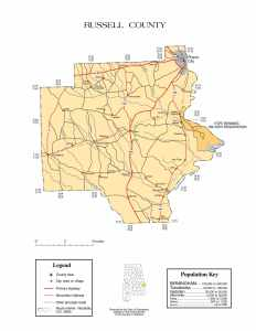 Russell County Map |  Printable Gis Rivers map of Russell Alabama