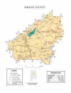 Shelby County Map |  Printable Gis Rivers map of Shelby Alabama