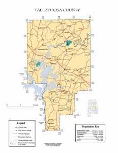 Tallapoosa County Map |  Printable Gis Rivers map of Tallapoosa Alabama