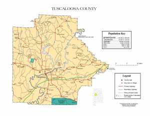 Tuscaloosa County Map |  Printable Gis Rivers map of Tuscaloosa Alabama